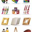Stock Vector: Painting materials and tools for artists icons set
