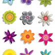 Stock Vector: Abstract flower icons