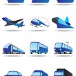 Stock Vector: Road, sea and space transport icons set