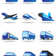 Road, sea and space transport icons set — Stock Vector