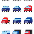 Road private and public transport icons set — Stock Vector #15474661