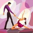 Couple dancers in romantic scene — Stock Vector