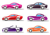 Luxury sport cars silhouettes — Stock Vector