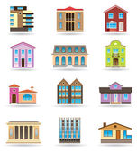 Buildings and houses in different architectural styles — Stock Vector