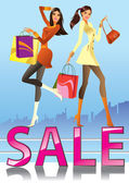 Fashion girls in sale campaign — Stock Vector