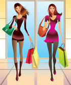 Fashion girls with new purchases — 图库矢量图片