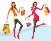 Shopping girls en action — Vecteur