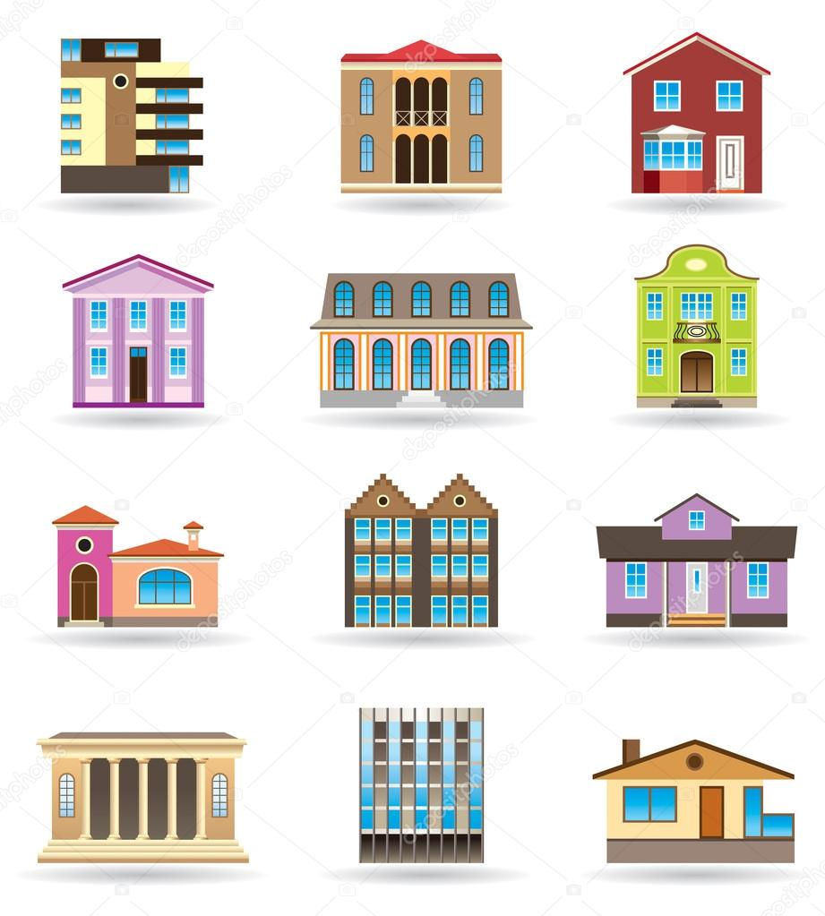 Buildings And Houses In Different Architectural Styles