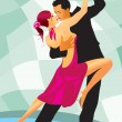 Vector de stock : Pair of dancers in ballroom dance