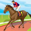 Jockey ride a brown horse — Stock Vector