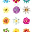 Abstract flower icons — Stock Vector