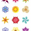 Colourful flower icons set - Stock Vector
