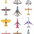 Different airplanes icons set — Stock Vector