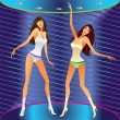 Dancing girls on stage in a club — Stock Vector