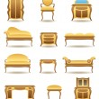 Classical home furniture icons set — Stock Vector #15575219
