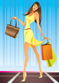Fashion shopping girl with bags — Stock Vector