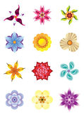 Colourful flower icons set — Stock Vector