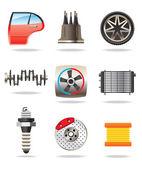 Car parts and symbols — Stock Vector