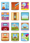Home and gerden furniture icon set — Stock Vector