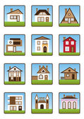 Private houses and homes icons set — Stock Vector