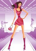 Fashion model representing collection on stage — Stock Vector