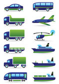 Vehicles icons set — Vector de stock
