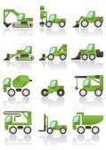 строительство транспортных средств иконы set — Cтоковый вектор
