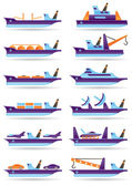 Different cargo ships icons set — Stock Vector