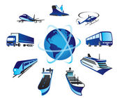 Passenger and cargo transportations around the world — Stock Vector