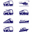Public transportation icon set - Stok Vektör