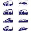 Public transportation icon set - Stock Vector