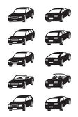 Different cars in perspective — Stock Vector