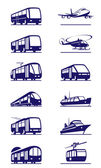 Public transportation icon set — Stok Vektör