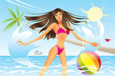 Beautiful woman going out of the sea — Stock Vector