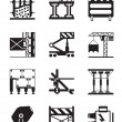 Stock Vector: Construction equipment and materials