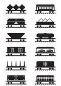 Different types of railway wagons — Stock Vector