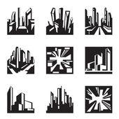 Varios edificios en perspectiva — Vector de stock