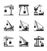 Various types of cranes — Stock Vector