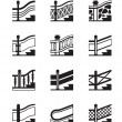Different types of railings — Stockvectorbeeld