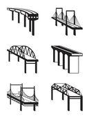 Various bridges in perspective — Stock Vector