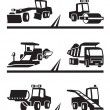 Stock Vector: Road construction machinery