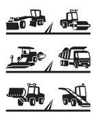 Road construction machinery — Stock Vector