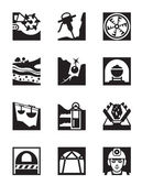 Mining and quarrying industry icon set — Stock Vector