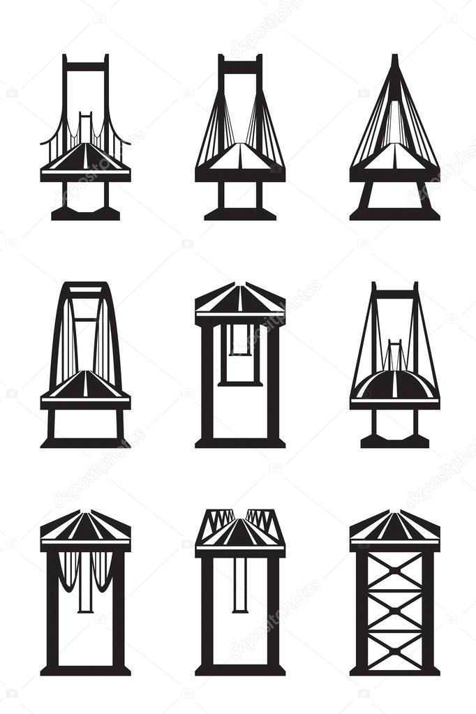 各种类型的桥梁 — 图库矢量图像08