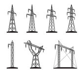 Electrical transmission tower types in perspective — Stock Vector