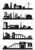 Various types of industrial plants — Stock Vector