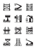Scaffolding and construction cranes icon set — Stock Vector