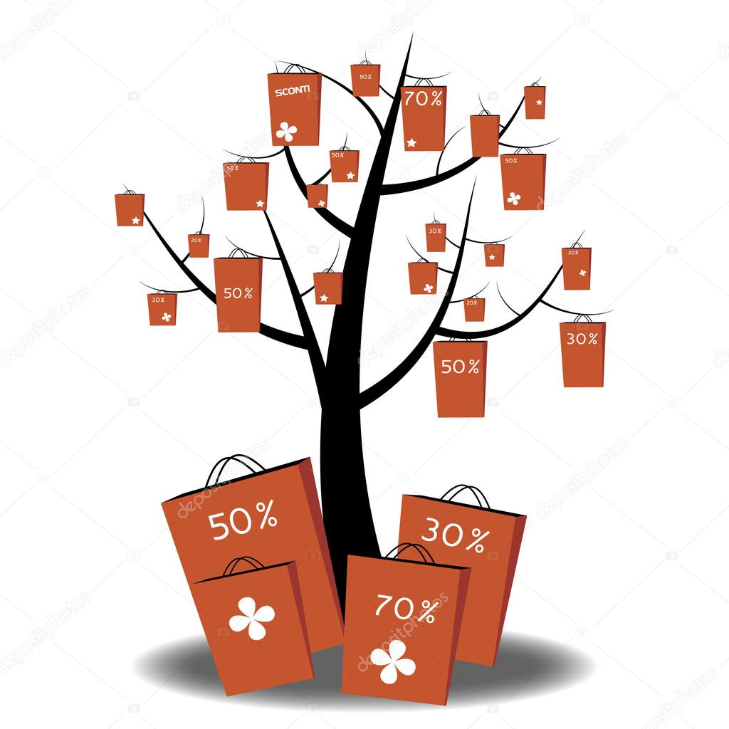 Abstract tree with grocery bags and cupons for shopping, illustration vector background. — Stock Vector #14678629