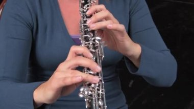 Oboe player. — Stock Video