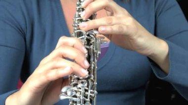Oboe spieler. — Stockvideo